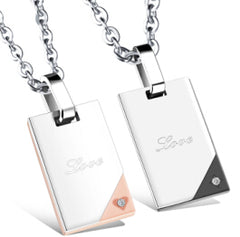 Custom His & Hers Engraved Stainless Steel Pendant Necklace