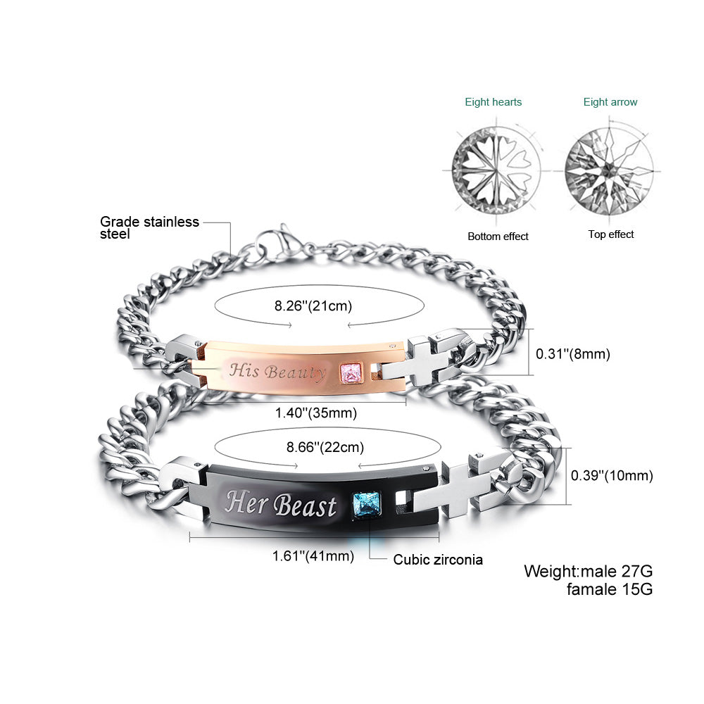 Her Beast & His Beauty Couples Cross Link Bracelet