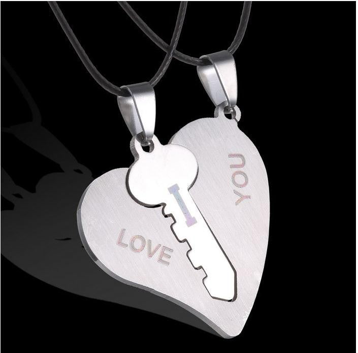 I Love You Couples Heart & Key Necklace Set