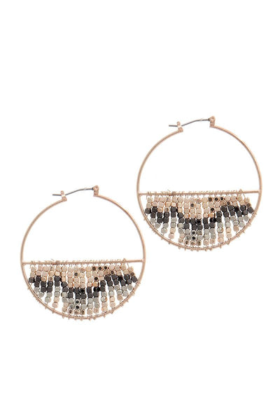 Multi metal beaded latch hoop earring