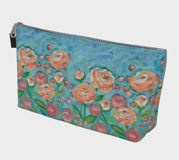 Peach Rose Makeup Bag - Creative Whims