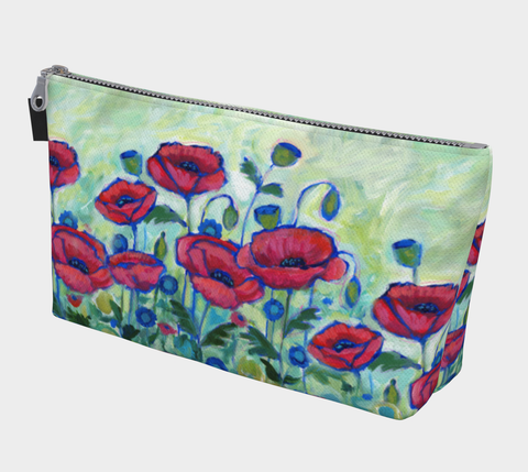 Red & Blue Poppies Makeup Bag - Creative Whims