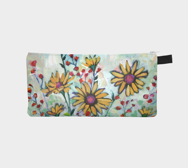 Yellow Daisy Garden Pencil Pouch - Creative Whims
