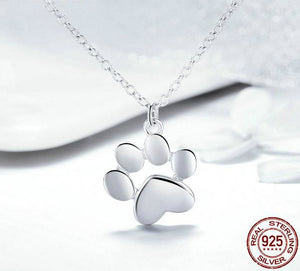 Sterling Silver Cat Paw Print Necklace - Cute Animal Footprint Necklace - Cat Necklace
