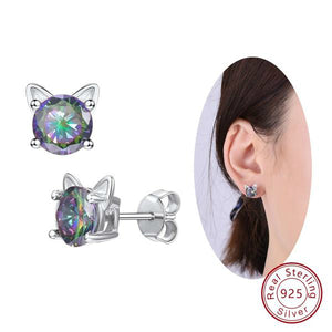 Sterling Silver Cute Cat Ears Shape Mystic Rainbow Topaz Crystal Earrings - Cat Earrings
