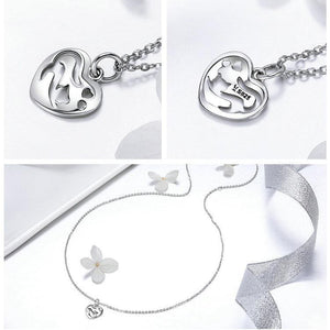 Sterling Silver Cat in Heart Shape Pendant Necklace