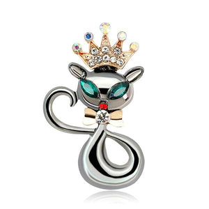 Cat Brooch - Fancy Enamel Cat Pin With Rhinestone Crown