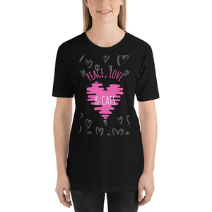 Peace Love and Cats Short-Sleeve Unisex T-Shirt - Pink Print