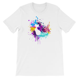 Artsy Cat - Paint Splotch - Heart Tail Cat T-Shirt