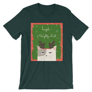 Hmph Naughty List Cat Short-Sleeve Unisex T-Shirt