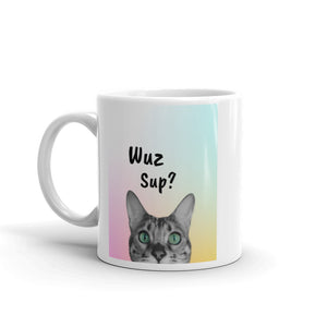 Wuz Up Funny Cat Mug - Printed on Both Sides