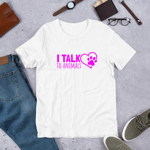 I Talk To Animals - Pink Print - Short-Sleeve Unisex T-Shirt