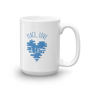 Peace Love & Cats with Blue Heart Cat Mug