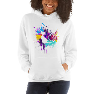 Artsy Cat - Paint Splotch - Heart Tail - Cat Hoodie - Unisex Heavy Blend Hooded Sweatshirt