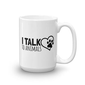 I Talk To Animals Heart Paw Mug - Black Print