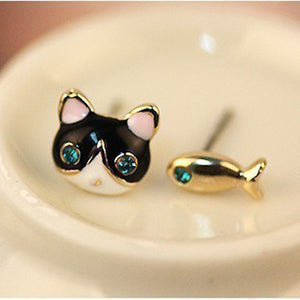 Cat And Fish Asymmetric Earrings with Blue Crystal Eyes