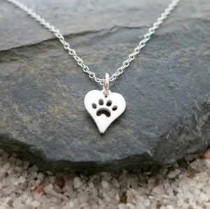 Paw Print Heart Necklace - Silver or Gold Color - Cat Paw Print Pendent - Cat Necklace