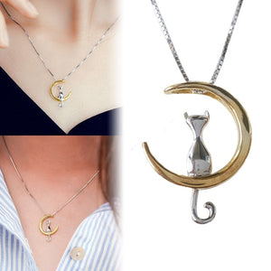 Cat Moon Necklace - Cat Charm Necklace - Silver and Gold Cat Necklace