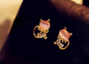 Cute Kitten Rhinestone Sweet Opal Cat Bow Stud Earrings