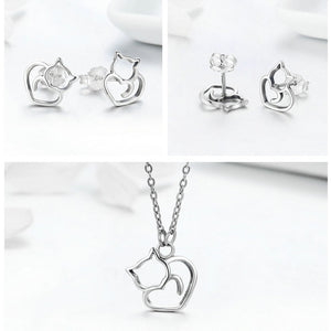Sterling Silver Cat Heart Necklace and Earring Set