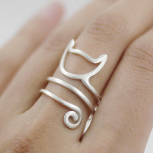 Cat Wrap Ring - Adjustable Ring - Cat Ring