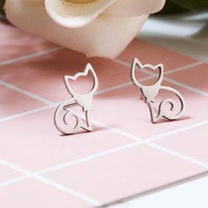 Cute Cats Stud Earrings - Stainless Steel - Cute Mini Stud Earring