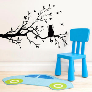 Cat On A Branch Wall Sticker - Cat Vinyl Art Decal - Cat Room Decor