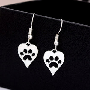 Paw Prints in Hearts - Heart-shaped Paw Print Drop Earrings