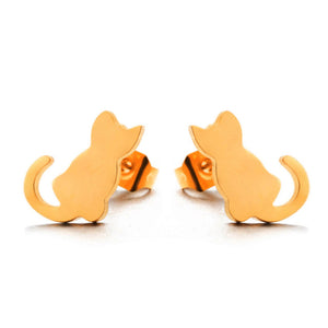 Cute Kitten Earrings - Stainless Steel - Cat Stud Earrings