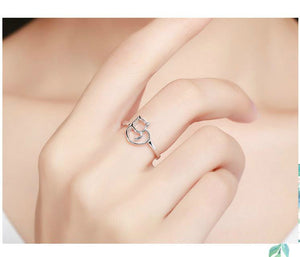 Sterling Silver Cat & Heart Ring for Women