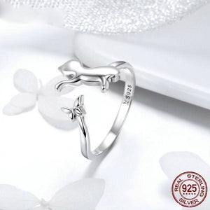 Sterling Silver Cat and Butterfly Ring - Adjustable Size Ring