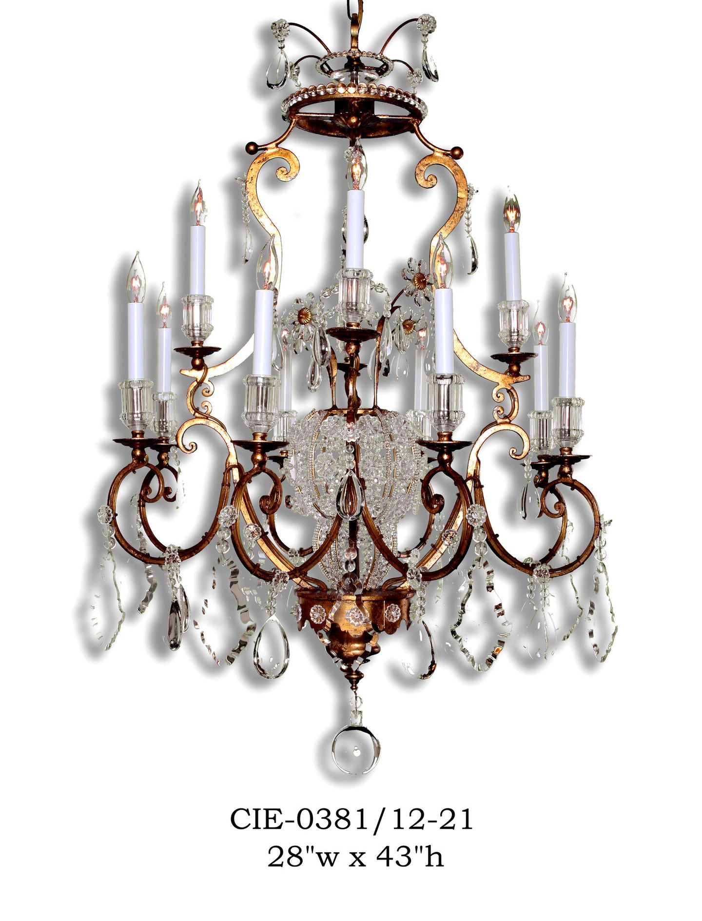 Crystal Chandelier - CIE-0381/12-21Chandelier - Graham's Lighting Memphis, TN