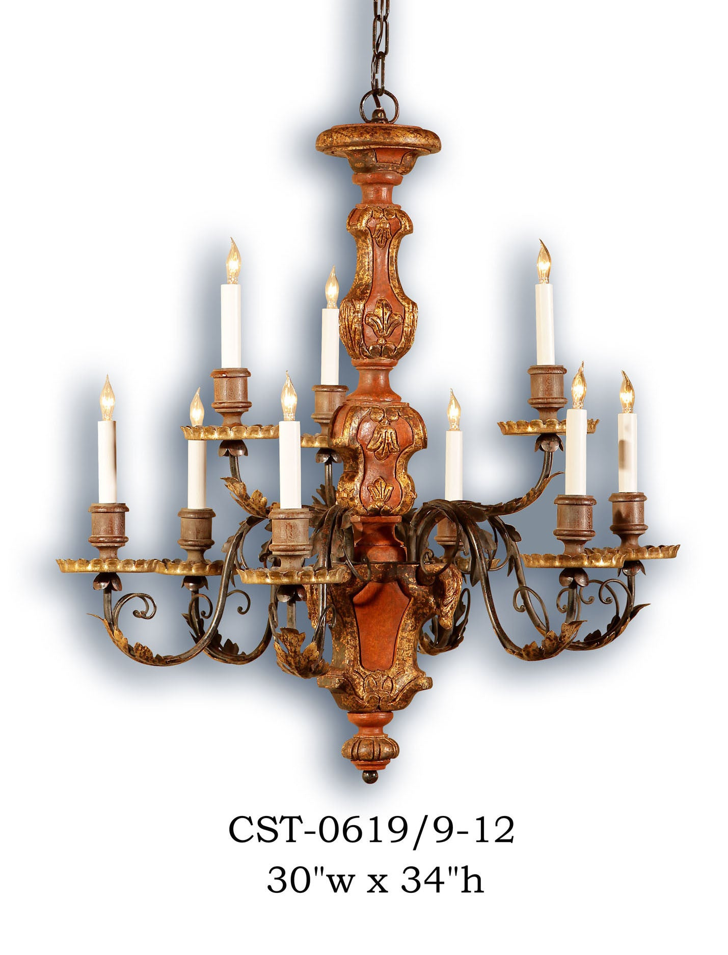 Wood Chandelier - CST-0619/9-12Chandelier - Graham's Lighting Memphis, TN