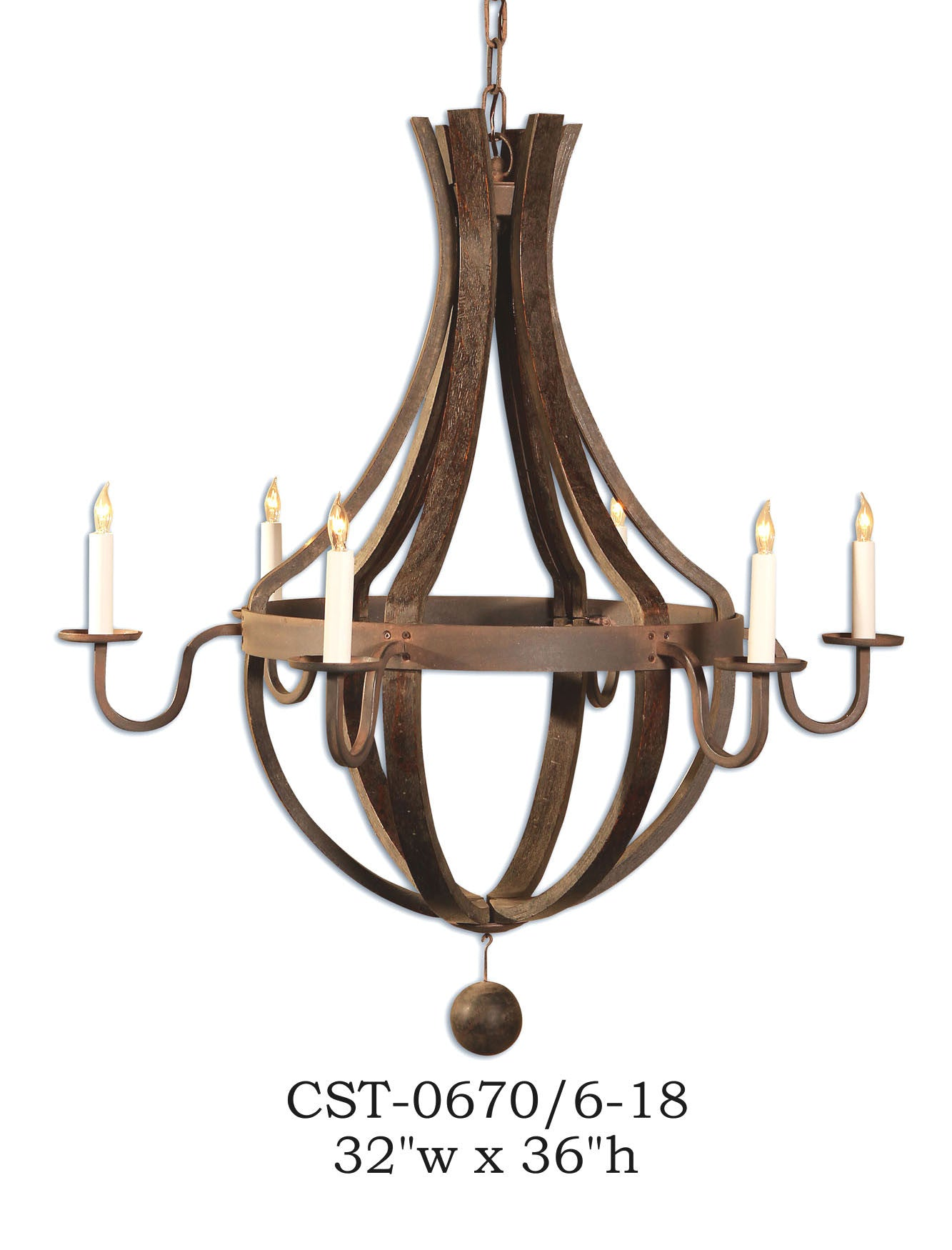 Wood Chandelier - CST-0670/6-18Chandelier - Graham's Lighting Memphis, TN
