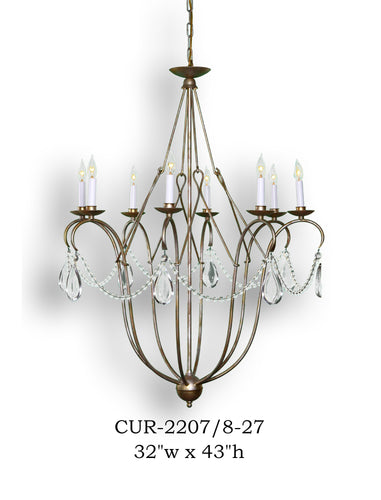 Crystal Chandelier - CUR-2207/8-27Chandelier - Graham's Lighting Memphis, TN