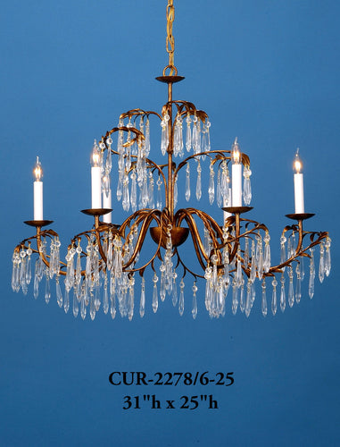 Crystal Chandelier - CUR-2278/6-25Chandelier - Graham's Lighting Memphis, TN
