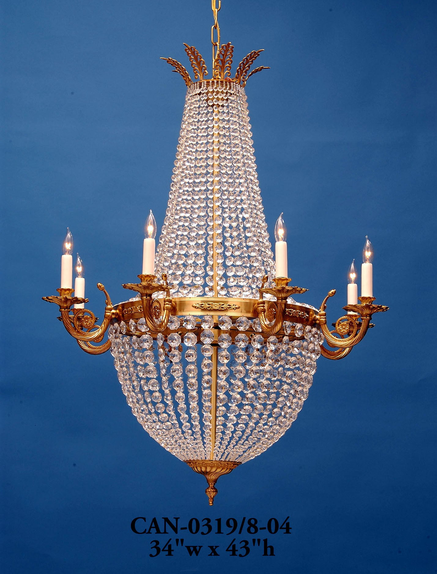 Crystal Chandelier - CAN-0319/8-04Chandelier - Graham's Lighting Memphis, TN