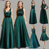 Elegant Women's Dark Green Evening Long Ever Pretty Dresses.