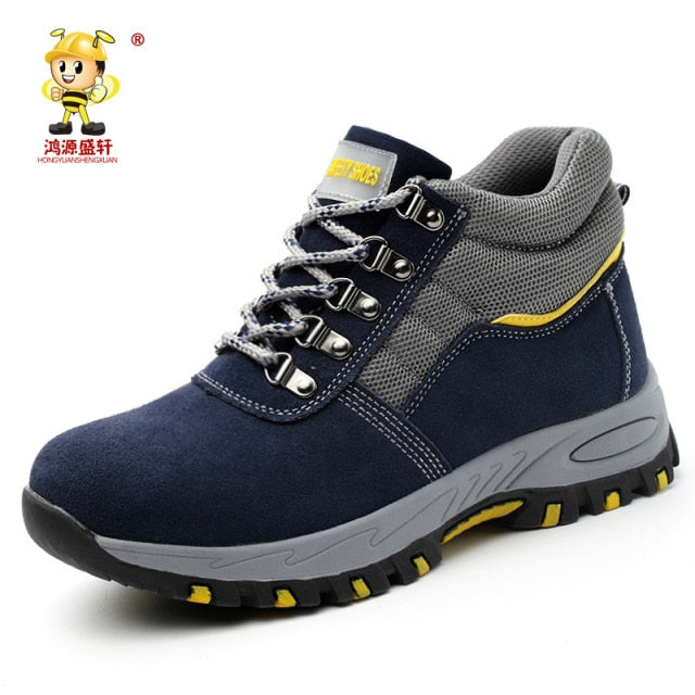 Men's Safety Work Boots Warm Plush Fur Labor Insurance Puncture Proof Snow Boot