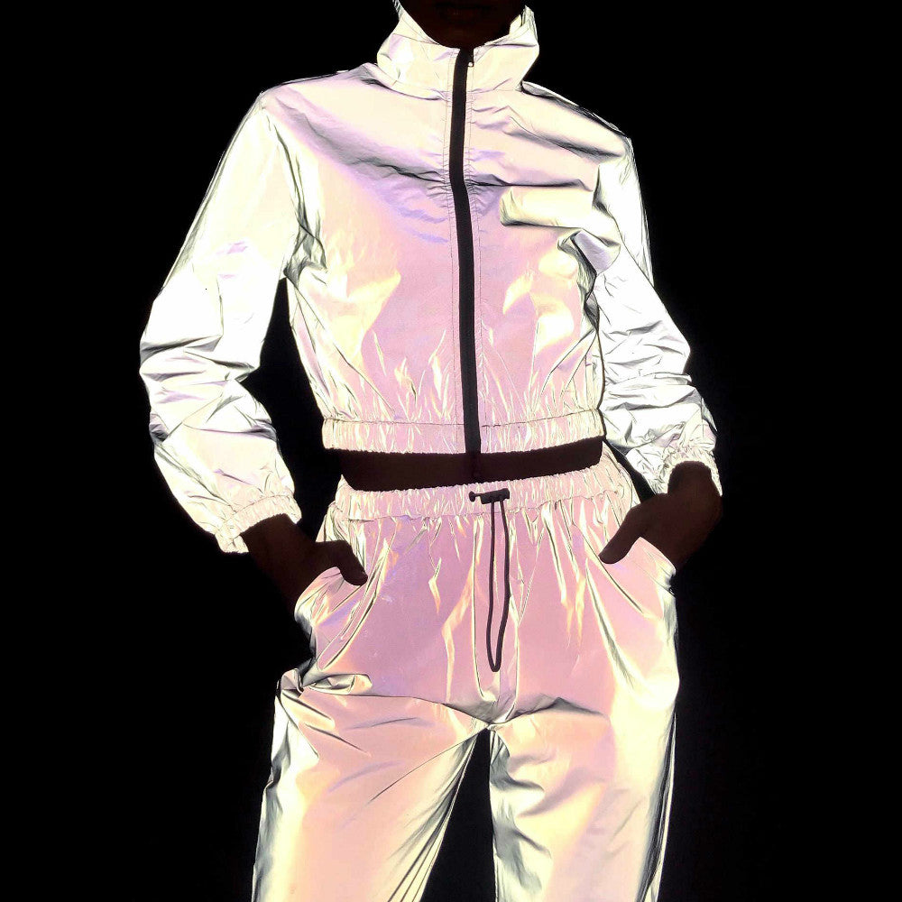 2 Piece Plus Size Women's Reflective Crop Tracksuit Zipper Jacket