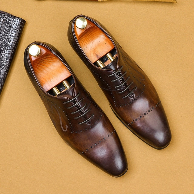 Men's business dress shoes brand Bullock genuine leather black laces wedding shoes.