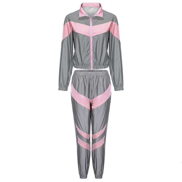 thepublisher,Reflective Zip Crop Women's Fashion Windbreaker Outfit Plus Size,Acapparelstore,Women's Tracksuits