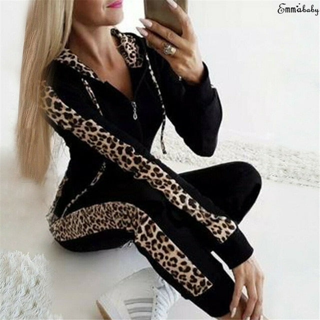 Retro Fashion Casual 2 PCs Women Leopard Long Sleeve Hoodies.