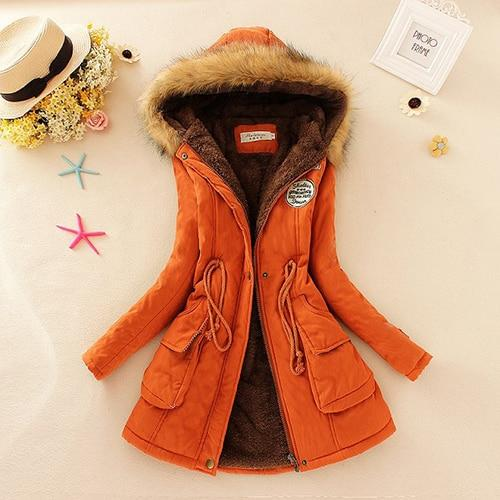 High Quality Women's Casual Cotton Hooded Fur Coat.