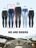 Women's High Quality Black Motorcycle Biker Zip Jeans Mid High Waist Stretch Skinny Pants.