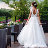 2020 A-line Beach Wedding Boho Bride Backless Dress.