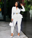 thepublisher,New Elegant Women's Winter Ruffles Blazers Pencil Pants Suits,Acapparelstore,Women's Tracksuits