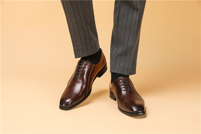 Men's Goodyear Welted Shoes Designer Brand Platform Brogues Dress Genuine Leather Brown Shoes.