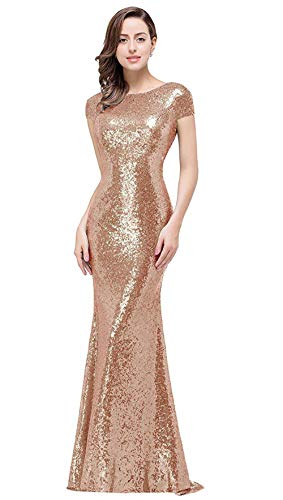 Women's Sequins Prom Long Rose Gold  Bridesmaid Dresses