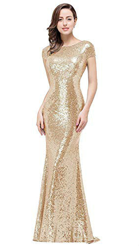Women's Sequins Prom Long Rose Gold  Bridesmaid Dresses.